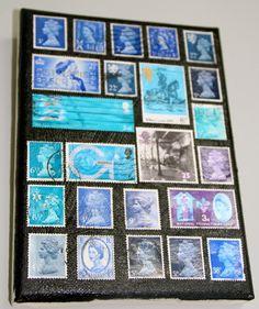 Blue vintage stamps on display