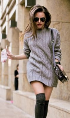 Wish I had the legs/balls to pull this off. Sexy Winter outfit (Jumper dress, Knee high socks, aviators)