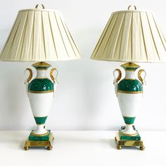 Vintage pair swan urn Lamps in malachite & gold with linen shades  PKL THE CELLAR