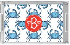 Monogrammed Lucite Tray - Personalized Acrylic Tray - Serving - Vanity - Home Decor - Coastal - CRAB SHACK