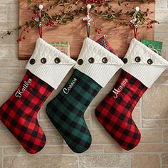 LOVE LOVE LOVE! Personalized Buffalo Check Christmas Stockings - you can have them embroidered with any name for free! LOVE the red and black buffalo plaid design!