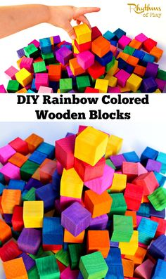 "DIY Rainbow Colored Wooden Blocks. These ""Grimm"" style blocks make a great gift for kids. They will provide years of educational play. Click through to find out how easy they are to make!"