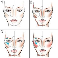 Коррекция лица. #макияж #коррекция #визажист #схемамакияжа #face #makeup #контуринг #стробинг
