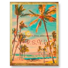vintage palm tree /  tropical / beach wedding invitation