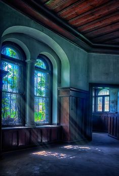 bluepueblo:  Arched Windows, Poland photo via evelyn Love the wall color,ceiling,all the woodwork...Beautiful...