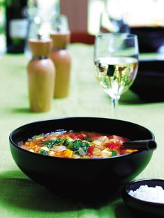 Minestrone with salsa verde recipe. Michelin-starred chef Angela Hartnett puts her stamp on this classic Italian soup recipe - a great starter for veggies and meat-eaters alike. Italian Soup Recipes, Italian Dishes, Vegetarian Recipes, Vegan Recepies, Vegetarian Italian, Healthy Recipes, Salsa Verde Recipe, Tasty Bites, Angela Hartnett