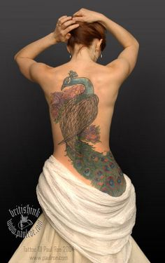 Peacock tattoo on back, 50 Awesome Back Tattoo Ideas | Cuded