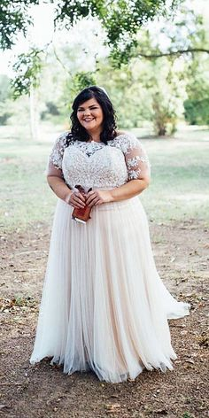 "plus size brides in lace wedding gowns from darius bridal ""This plus size wedding dress has an illusion neckline. The short sleeves on thie gown design hide the upper arm. dresses cheap plus size plus size brides in lace wedding gowns from darius bridal Plus Size Brides, Plus Size Wedding Gowns, Country Wedding Dresses, Dream Wedding Dresses, Plus Size Dresses, Bridal Dresses, Fall Dresses, Denim Dresses, Ivory Dresses"
