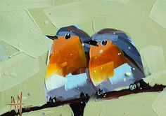 Two Robins no. 12    5 x 7 x 1/8 inches (12.7 x 17.78 cm)    oil paint on archival gessobord panel. signed. unframed.    copyright: Angela Moulton ©    painting will be dry and ready to ship August 5