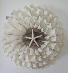 cone wreath with driftwood and starfish