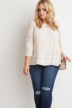 Plus Size Tops: Women's Plus Size Blouses, Shirts & Tees Plus Size Blouses, Plus Size Tops, Floral Lace, Floral Tops, Designer Plus Size Clothing, Shoulder Length Hair, Summer Looks, Soft Summer, Casual Tops
