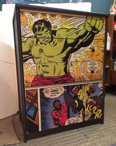 Upcycled Chest of Drawers with Marvel Comic Decoupage |