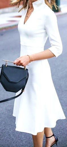 #feminine #style #summer #outfitideas Classic Ivory Dress Touch Of Black - more on http://ift.tt/2rynWxj