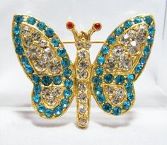 Aqua Blue Crystal Rhinestone Butterfly Pin by GretelsTreasures