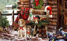 """New for 2012! Beagle Christmas Holiday Cards are 8 1/2"""" x 5 1/2"""" and come in packages of 12 cards. One design per package. All designs include envelopes, your personal message, and choice of greeting. Select the inside greeting of your choice from the menu below.Add your custom personal message to the Comments box during checkout."""