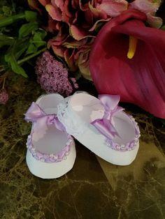 Conjunto de diez lavanda y favores de zapato blanco / zapato
