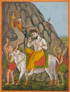Shiva on Nandi in a landscape with two demons, Parvati and Ganesh on a mountainside beyond Provincial Mughal, Bengal, late Century Om Namah Shivaya, Tantra, Kali Hindu, India Art, India India, Mughal Paintings, Lord Shiva Family, Lord Vishnu Wallpapers, Lord Shiva Painting