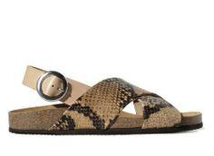Zara Printed Leather Crossover Sandal