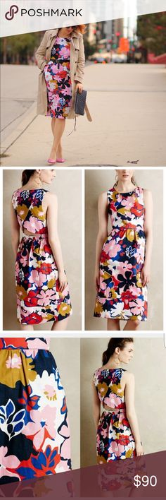 "Anthro Petal Print Dress Make a statement in this beautiful and BOLD multi color petal print floral midi dress by Whit Two! This gorgeous dress has a flirty cross back detail with cut out, a side zipper, elastic back waistband below cut out, set in waist, and POCKETS!👍🏼                                                             Size 8- bust: 37""/waist: 29""/hips: 39""- length: 41.5"" Anthropologie Dresses Midi"