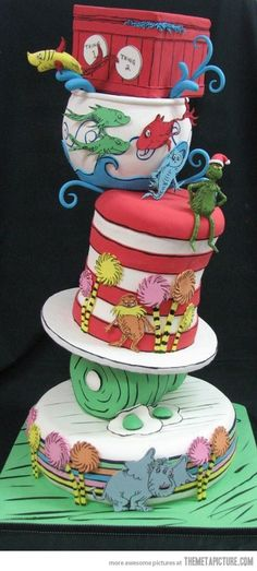 Dr Seuss Cake Part of a gallery of 24 Incredible Cakes Inspired By Books This is totally awesome Be sure to check the rest of the gallery Crazy Cakes, Fancy Cakes, Cute Cakes, Pretty Cakes, Beautiful Cakes, Amazing Cakes, Pink Cakes, Unique Cakes, Creative Cakes