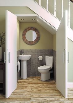 Micro Space Corner Bathroom Suite, Corner Toilet with Corner Basin & Pedestal Small Downstairs Toilet, Small Toilet Room, Toilet With Sink, Bathroom Layout, Bathroom Interior Design, Laundry In Bathroom, Small Bathroom, Family Bathroom, Bathroom Under Stairs