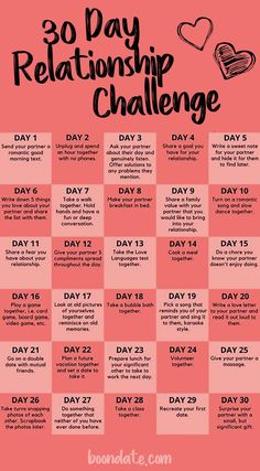 If you're feeling stuck in a relationship rut, a little extra spice may be what you and your partner need. Once the honeymoon phase passes, it's easy for the initial spark to flicker and fade a bit, but there are plenty of ways to keep the romance alive and kicking! This 30-day challenge is designed to help increase the sweet and sexy elements in your relationship by doing at least one specific romantic thing, together or for each other, every day for the duration of a month…