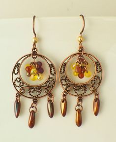 Antique Copper Plated Brass Filigree Chandeliers Make fast and lovely earrings by UnkamenSupplies on Etsy, $4.50