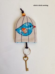 chick chick sewing: Bird Cage Key Cover made from my book! ♪著書掲載作品より「鳥かご」の鍵カバー♪