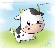 Isn't it cuuuuute? Cow Pictures, Cute Cartoon Pictures, Cute Cartoon Drawings, Cartoon Kunst, Disney Drawings, Cartoon Art, Cow And Moon, Cow Puns, Goat Cartoon