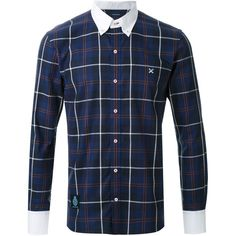 Guild Prime plaid shirt Loveless ($180) ❤ liked on Polyvore featuring tops, men, plaid top, tartan top, plaid shirt, blue top and tartan plaid shirt
