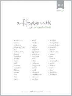 a 52 week photo challenge