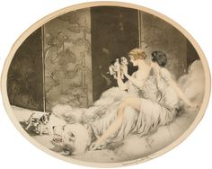 "Louis Icart (French, 1888-1950), ""Puppies"" 
