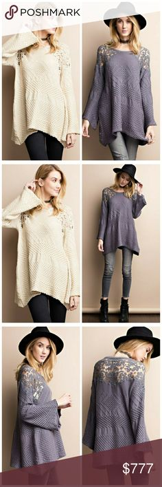 Best seller in next week! Like to be notified! Comfy bell sleeve knitted sweater tunic in colors smoke and oatmeal. Features crochet detailing on shoulder and back. Price: $47. Like to be notified when in! THIS LISTING FOR CREAM ONLY. SEE OTHER LISTING FOR SMOKE. Tops Tunics