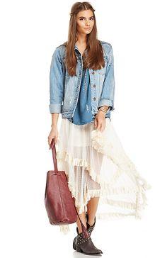 Tiered Lace Midi Skirt in Cream S - L   DAILYLOOK