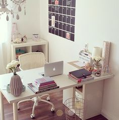 Home Office Inspiration with white desk in a modern farmhouse style