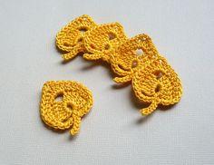 -Crochet Leaf Appliques Golden Aspen Leaves by CaitlinSainio