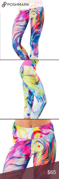 ONLY 6 LEFT🌟electric yoga rainbow swirl leggings super comfortable!❥looks great with your fave sports bra❥BEST SELLER-limited stock❥NWT❥compare to Lululemon and Lularoe❥82% polyester/18% spandex❥band is blue (not pink as shown)❥MSRP: $119                                  ••••••••••••••••••••••••••••••••••••••••••••••••••••••••••• tags: exercise, workout, yoga, pilates, rainbow, rave, festival, leggings, capri pants, fun, colorful, woman, girls, athleisure, inspired capri, gym, dance…