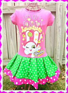 girls Shopkins dress Lets get Poppin by BlossomBlueBoutique