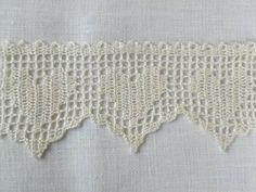 White lace hand crochet hearts edge trim wedding decor. $2.00, via Etsy.