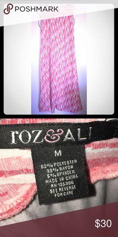 Roz & Ali pink long skirt Roz & Ali pink skirt strips size medium long from dress barn Dress Barn Skirts