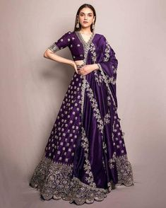 Gorgeous Aditi Rao Hydari in Jayanti Reddy. Gorgeous purple color designer lehenga and blouse with dupatta. Lehenga and blouse with hand embroidery silver thread work. 13 January 2020 Source by acheivermahesh indian Indian Gowns Dresses, Indian Fashion Dresses, Indian Designer Outfits, Bridal Dresses, Designer Dresses, Saree Fashion, Bollywood Fashion, Formal Dresses, Ghagra Choli