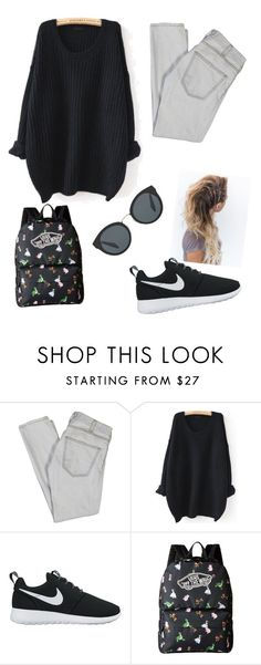 """School- home"" by amber-styles-i ❤ liked on Polyvore featuring Current/Elliott, WithChic, NIKE, Vans and Prada"