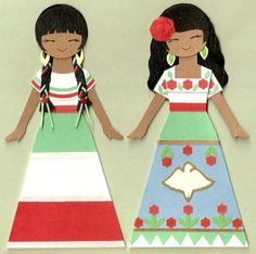 MEXICAN GIRL PAPER DOLL CARD TOPPER (SET OF 2)