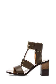 Chloe|Gladiator Leather Heels in Military Green