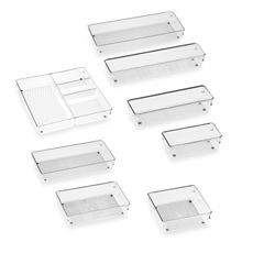 Acrylic Drawer Organizers- These are my go-to products for organizing toiletries and cosmetics in bathroom and vanity drawers. Get a variety of shapes and sizes and figure out what fits best for your items and space! Bed Bath and Beyond, from $3.99