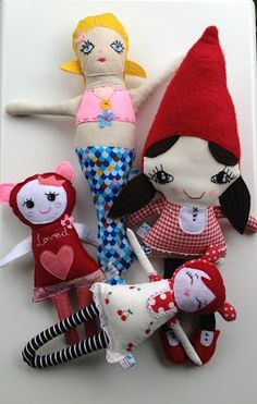 4 of my favourites - Simmone Star Sewing Toys, Sewing Clothes, Doll Clothes, Mermaid Dolls, Softies, Happy Day, Happiness, Houses, Christmas Ornaments