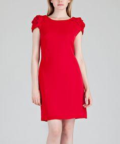 Red Rosette Cowl-Back Dress - Women