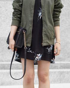 A Little Detail - Khaki Bomber Jacket & Floral Dress #khakibomberjacket #bomberjacket #floraldress #brandymelville #fashion #outfit #fallfashion #summerfashion #womensfashion #outfit #style