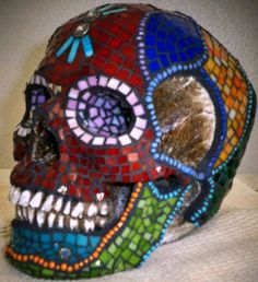 Mosaic Day of the Dead Sugar Skull  blue floral by learningcurved, $300.00