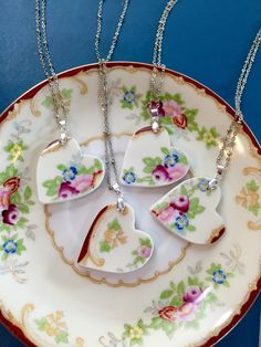Broken china jewelry - Heart Bridal Necklace Set